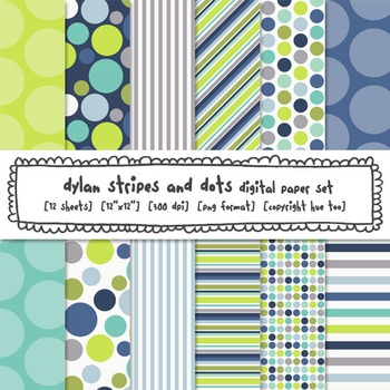 Blue and Green Digital Paper, Stripes and Polka Dots Digital Backgrounds