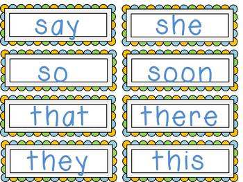 Blue and Green Dolch Word Wall Set- Primer-Grade 3