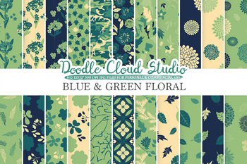 Blue and Green Floral digital paper, Blue and Green and Cream Floral patterns