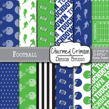 Blue and Green Football Digital Paper 1071