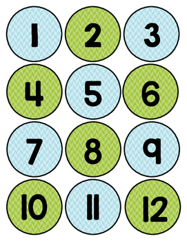 Blue and Green Herringbone Class Numbers