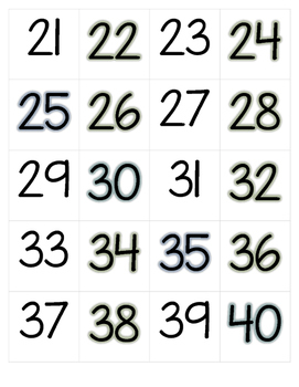 Blue and Green Hundreds Chart Numbers
