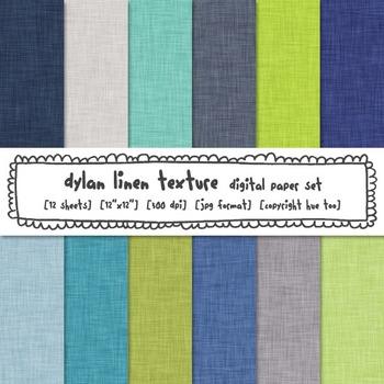 Blue and Green Linen Texture Digital Backgrounds, Linen Digital Paper