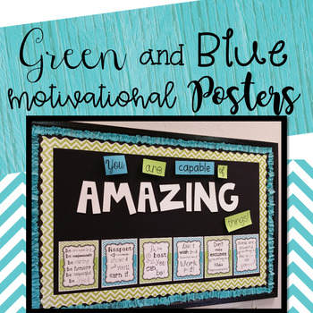 Blue and Green Motivational Posters Set