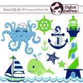 Blue and Green Nautical Clip Art, Whale, Octopus, Sea Clipart