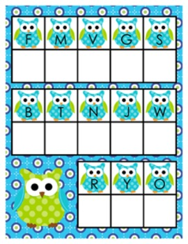 Blue and Green Owl Alphabet Matching Activity