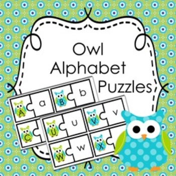Blue and Green Owl Alphabet Puzzles