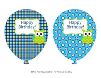 Blue and Green Owl Birthday Balloons (4 different designs)