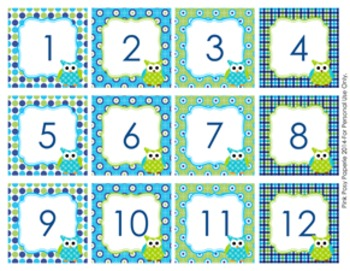 Blue and Green Owl Calendar Numbers
