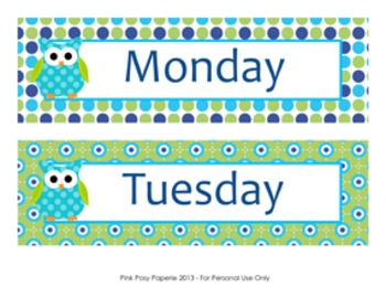 Blue and Green Owl Calendar Set - Months - Days - Numbers