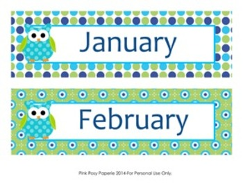 Blue and Green Owl Classroom Decor Monthly Calendar Headers