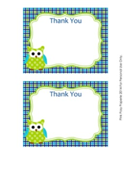 Blue and Green Owl Flat Thank You Note Cards
