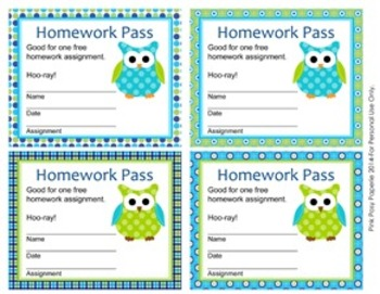 Blue and Green Owl Homework Passes