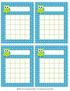 Blue and Green Owl Incentive Reward Charts - 4 Different Designs