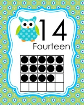 Blue and Green Owl Ten Frame Posters 0 - 20