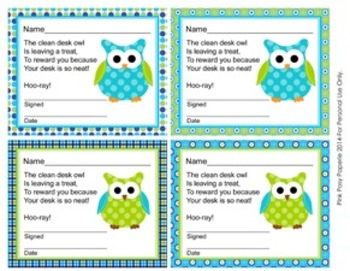 Blue and Green Owl Theme Clean Desk Awards