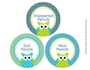 Blue and Green Owl Theme Pencil Caddy Labels