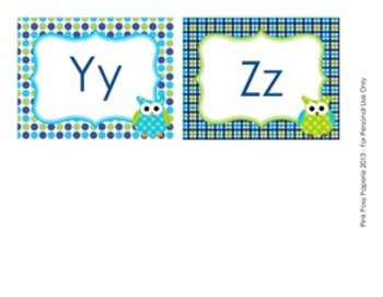 Blue and Green Owl Word Wall Headers