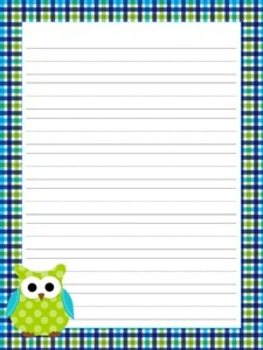 Blue and Green Owl Writing Papers- 3 Styles (7 1/2 x 10)