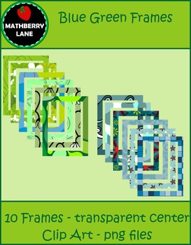 Blue and Green Pattern Frames - Clip Art png files Commercial Use