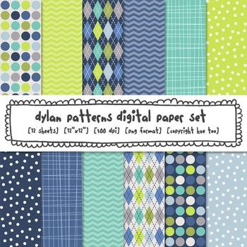 Blue and Green Patterns Digital Paper Set: Polka Dots, Chevron, Argyle