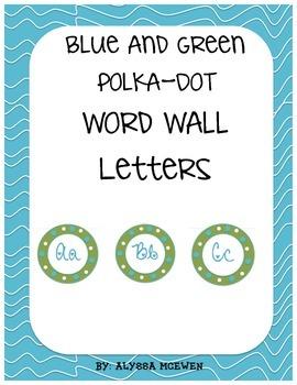 Blue and Green Polkadot Word Wall