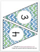 Blue and Green Sparkly classroom bunting banner with numbers 1 - 120