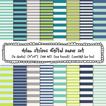 Blue and Green Stripes Digital Paper, Striped Digital Backgrounds, TpT Sellers