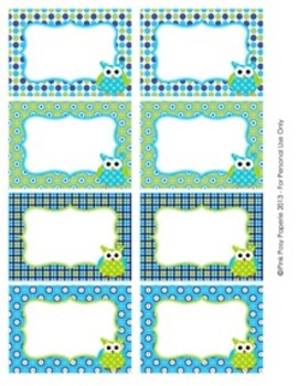 Blue and Green Owl Theme Classroom Bin Tag Labels