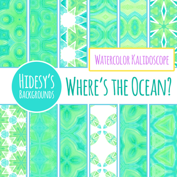Blue and Green Watercolor Digital Papers / Patterns / Backgrounds Clip Art Set