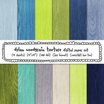 Blue and Green Woodgrain Digital Paper, Rustic Wood Digital Backgrounds