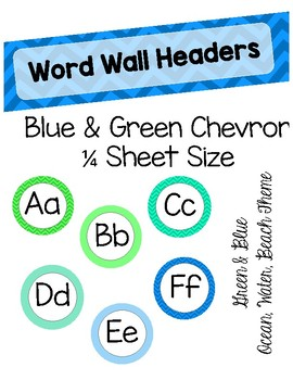 Blue and Green Word Wall Headers