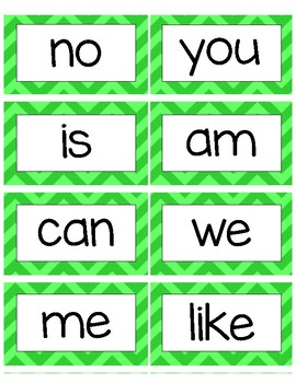 Blue and Green Word Wall Words