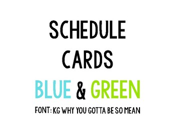 Blue and Green on Black Schedule Cards