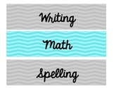 Blue and Grey Chevron Subject and Organization Labels