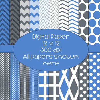 Blue and Grey Digital Papers - 300 dpi