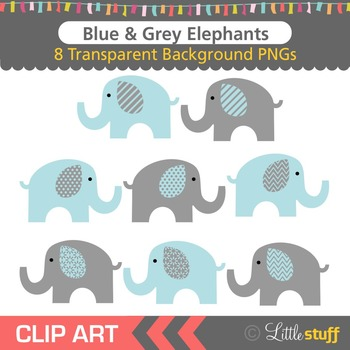 Blue and Grey Elephant Clipart, Blue & Gray Elephant Clip Art