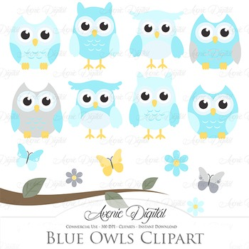Blue and Grey Owl Cliparts - Vectors clip art
