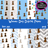 Blue and Grey Wiener Dog Digital Papers