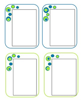 Blue and Lime Green Bubble Stationary and Labels