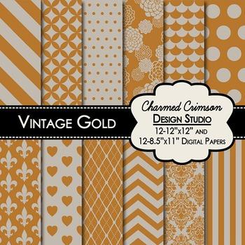 Gold Vintage Digital Paper 1262