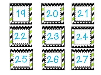 Blue and Neon green Calendar set