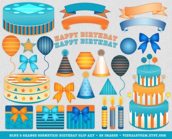 Blue and Orange Birthday Clip Art - 28 Hand Drawn Party Illustrations For Kids