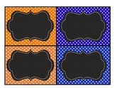 Blue and Orange Chalkboard Name Tags Labels