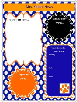 Blue and Orange Class Newsletter Template