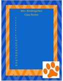 Blue and Orange Class Roster Template
