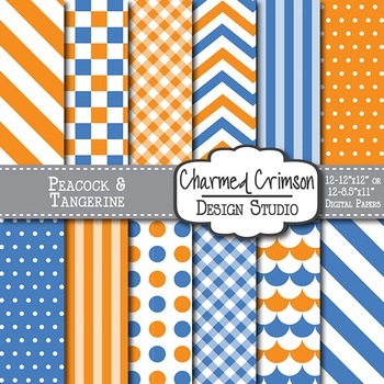 Blue and Orange Digital Paper 1156
