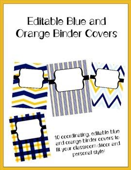 Blue and Orange Editable Binder Covers