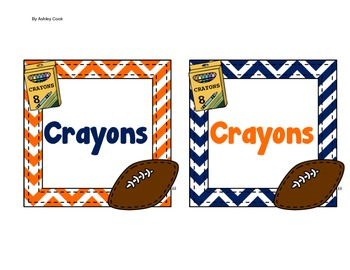 Blue and Orange Football Labels