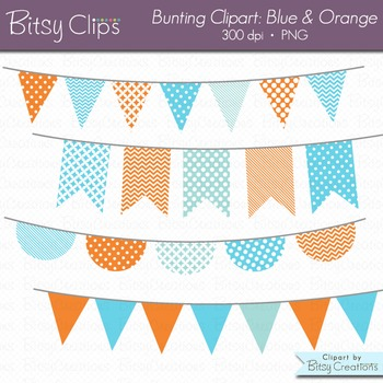 Blue and Orange Goldfish Bunting Clipart Digital Art Set Blue Orange Banner Flag